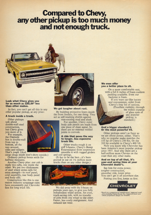 Any other is too much money & not enough truck Chevrolet Pickup ad 1970