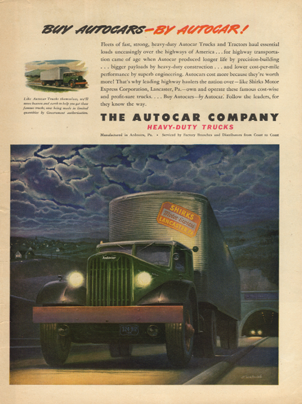 Buy Autocars by Autocar ad 1945 Skirks Motor Express Lancaster PA L