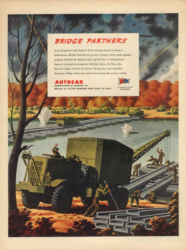 Bridge Partners - Autocar Mobile Derricks lay Pontoon Bridges ad 1943 L