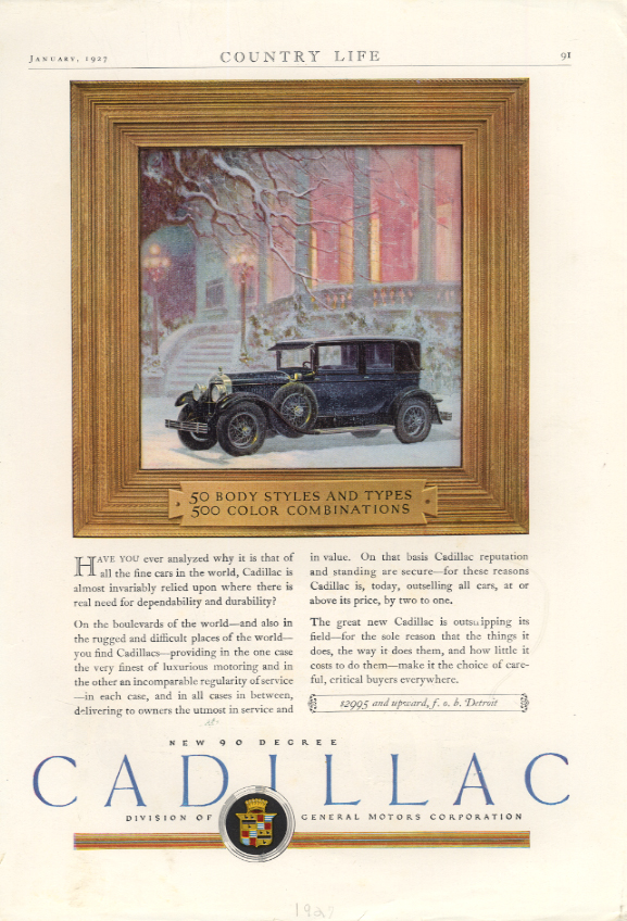 Cadillac 50 Body Styles / Lincoln chauffeured cabriolet ad 1927