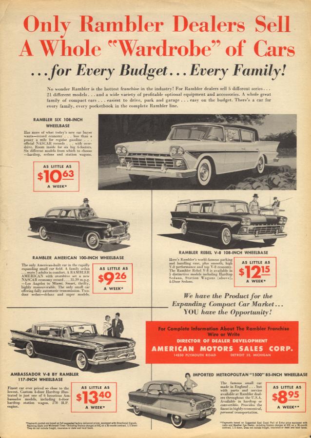 Rambler Dealers Wardrobe: American Rebel Ambassador Metropolitan ad 1958