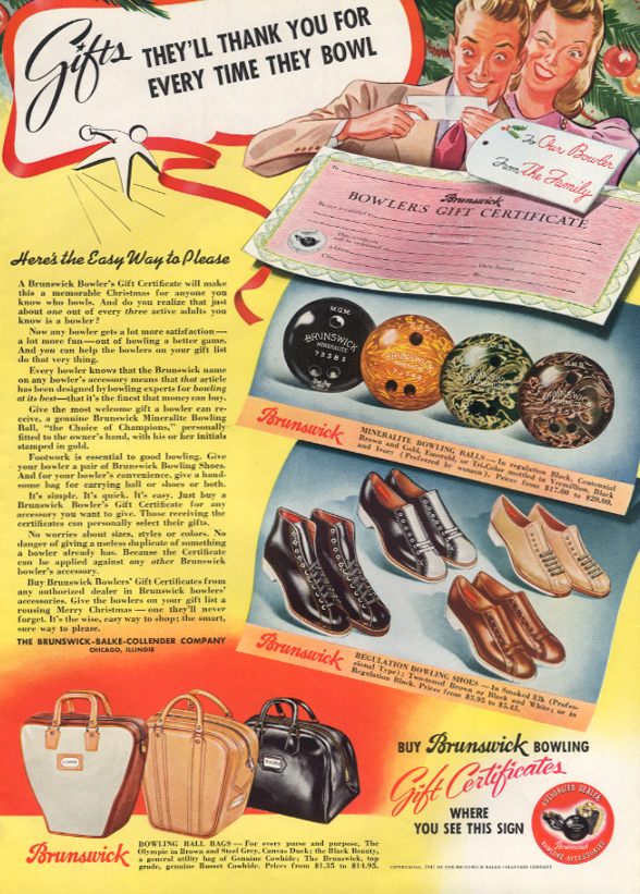 Brunswick Bowling Gift Certificates balls shoes bags magazine ad 1941