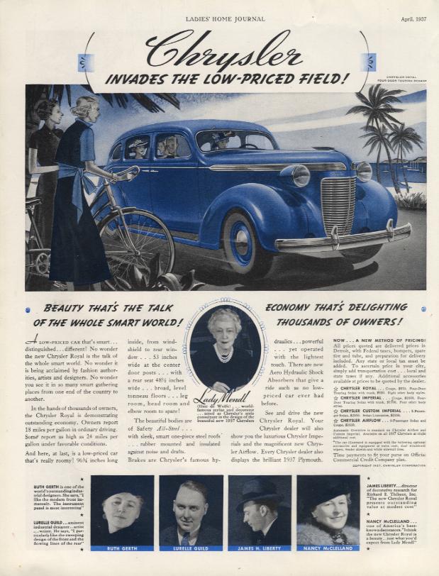 Image for Chrysler invades the low-priced field! Chrysler Royal Sedan ad 1937 LHJ