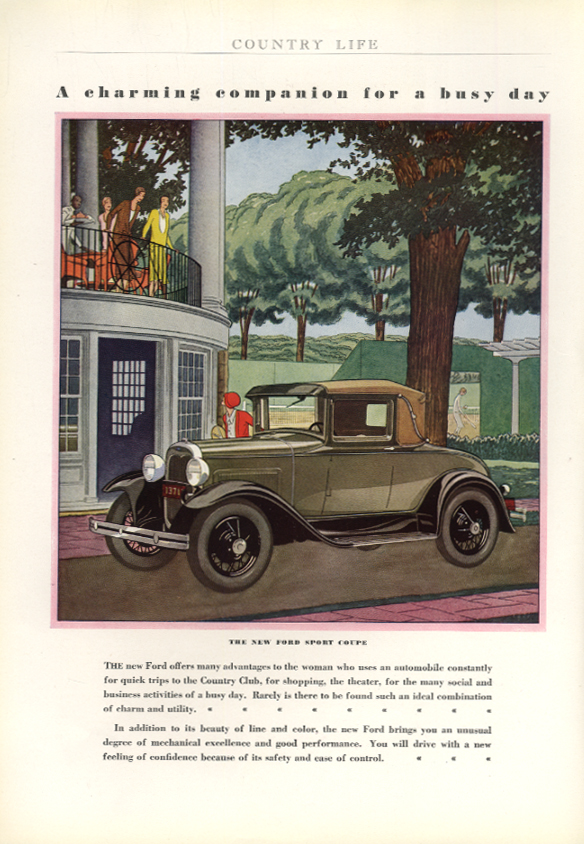 A charming companion for a busy day Ford Model A Sport Coupe ad 1930 CL