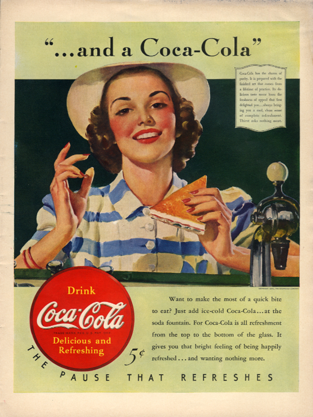 and a Coca-Cola make the most of a quick bite to eat ad 1940 L
