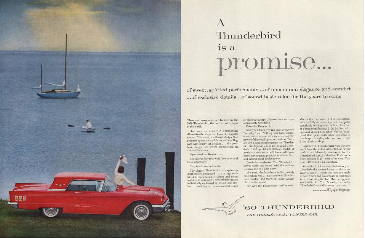 A Thunderbird is a promise Ford Thunderbird Coupe ad 1960 H
