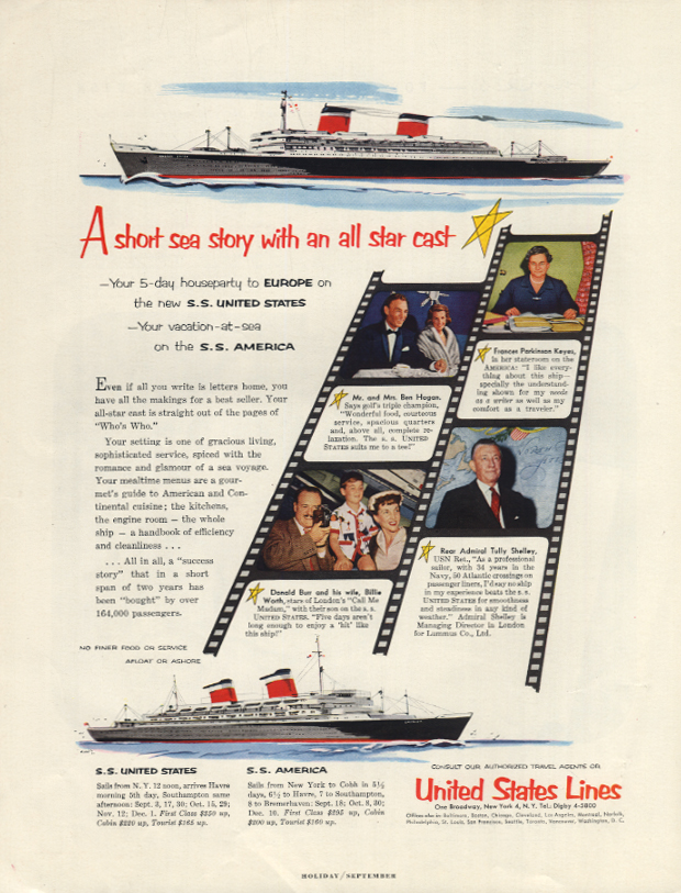 A short sea story an all star cast S S United States ad 1954 Ben Hogan + H