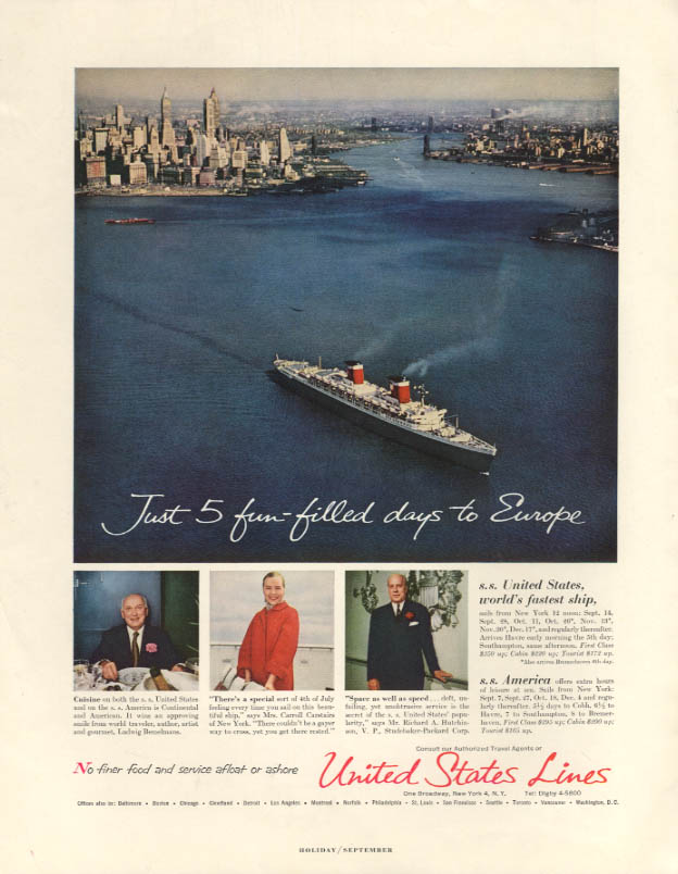 Just 5 fun-filled days to Europe S S United States ad 1956 H