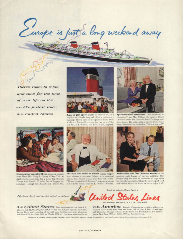 Europe is just a long weekend away S S United States ad 1956 H Monty Woolley
