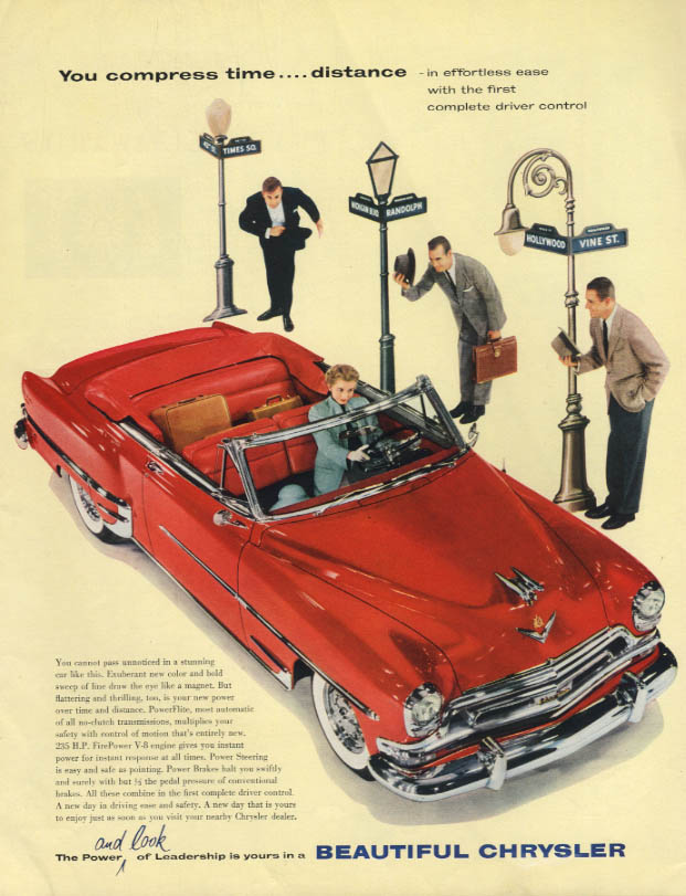 Image for You compress time - distance Chrysler New Yorker Convertible ad 1954 H