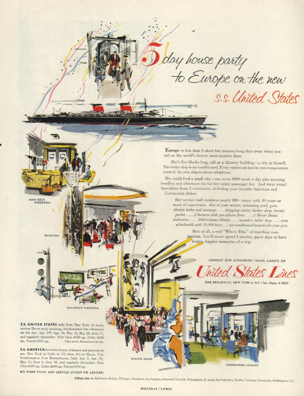 5 day house party to Europe on the new S S United States ad 1954 H