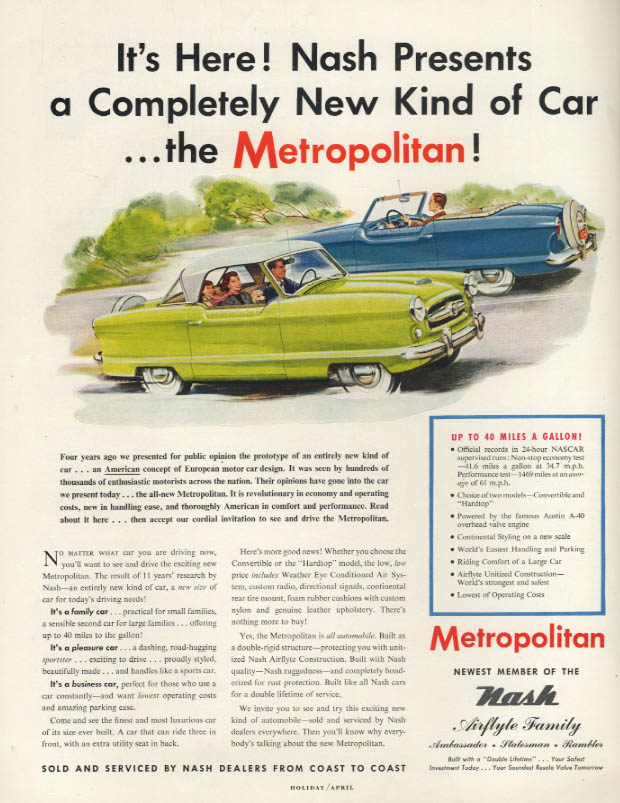 It's Here! A Completely New Kind of Car! The Nash Metropolitan ad 1954 H