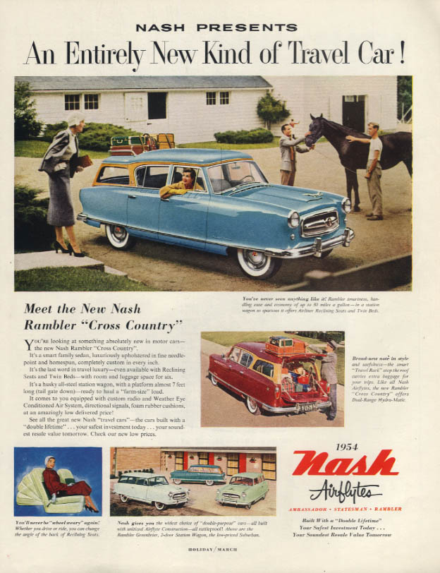 An Entirely New Kind of Travel Car Nash Rambler Cross Country ad 1954 H