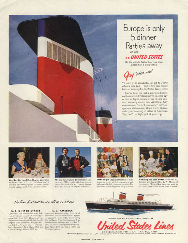 Europe is only 5 dinner parties away on the S S United States ad 1953 H