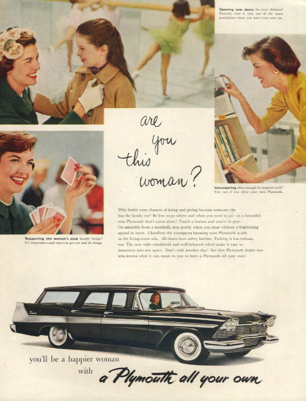 Are you this woman? You'll be happier in a Plymouth Station Wagon ad 1958 LHJ