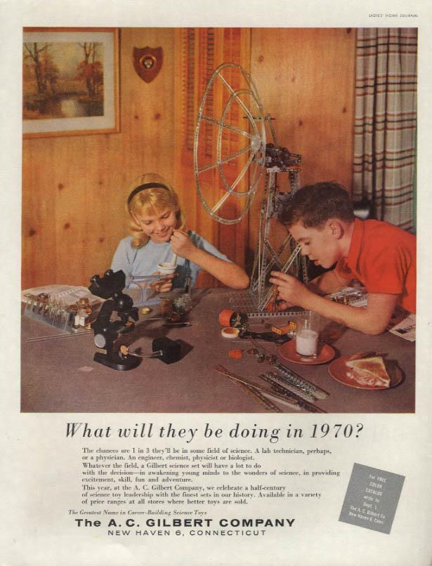 A C Gilbert Erector Set Chemistry Microscope MAGAZINE AD 1959 LHJ