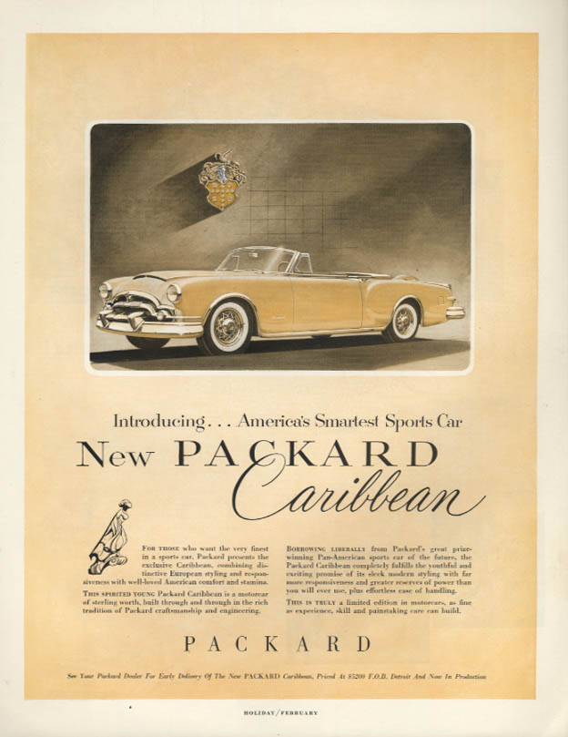 America's Smartest Sports Car - new Packard Caribbean Convertible ad 1953 H