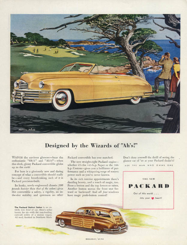"Designed by the Wizard of ""Ah's!"" Packard Convertible & Station Wagon ad 1948 H"