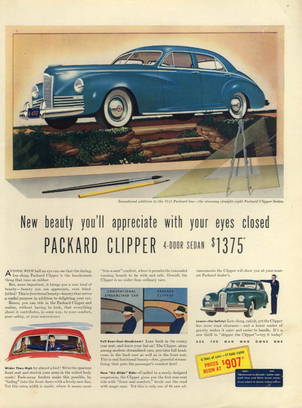 Beauty you'll appreciate with your eyes closed Packard Clipper ad 1941 L