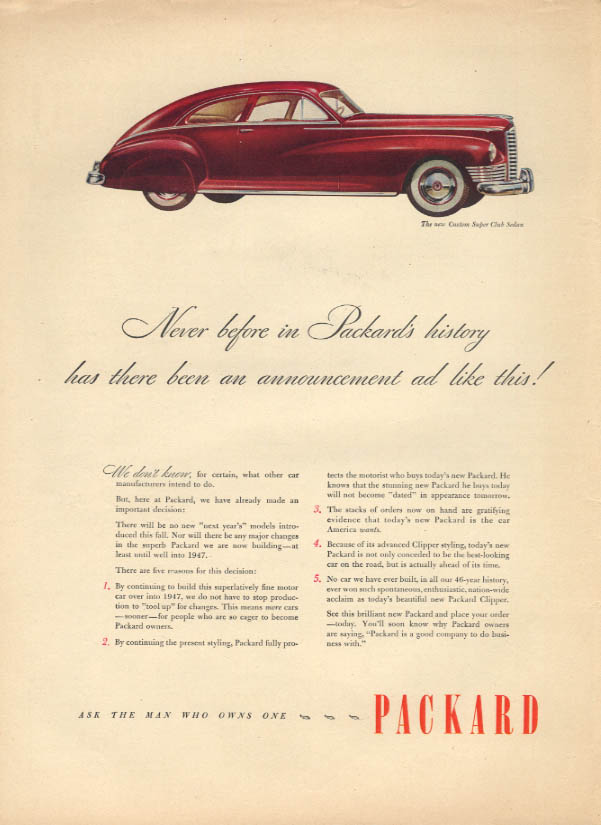 Never before in Packard's history Packard Custom Super Club Sedan ad 1947 L