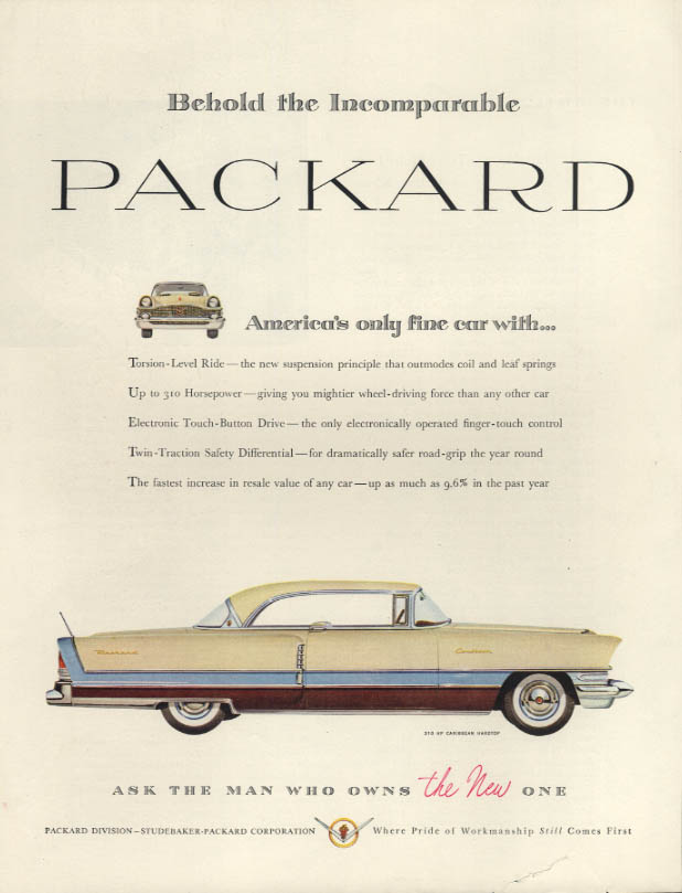 Behold the Imcomparable Packard Caribbean Hardtop ad 1956 H