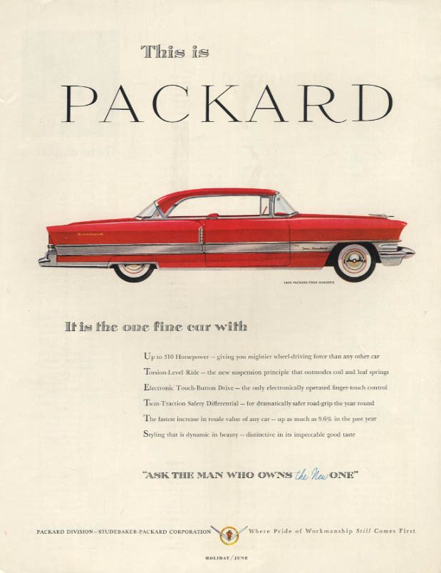 It is the one fine car Packard Four Hundred 2-door Hardtop ad 1956 H