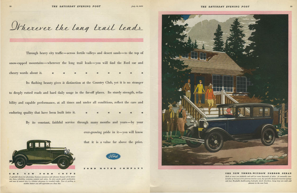 Wherever the long trail leads Ford Model A 3-Window Fordor & Coupe ad 1930 SEP