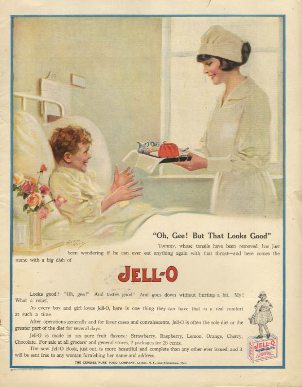 Image for Oh, Gee! But That Looks Good - Jell-O ad 1920 Nurse serves boy - Norman Price
