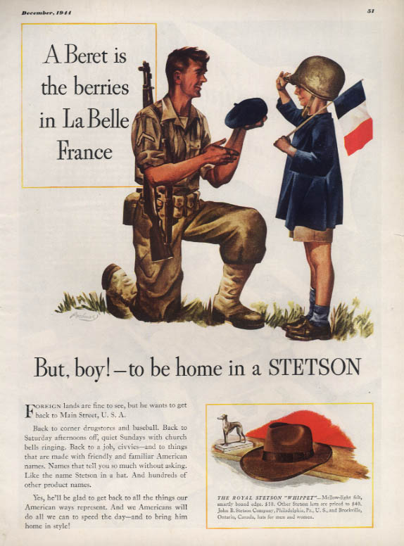 A Beret is the berries in France but to be home in a Stetson Hat ad 1944 ESQ