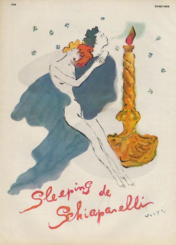 Sleeping de Schiaparelli perfume ad 1941 Vertes nude dreaming ESQ