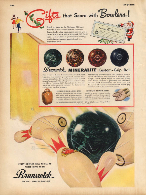 Gifts that score with Bowlers! Brunswick ball shoe bag ad 1947 ESQ