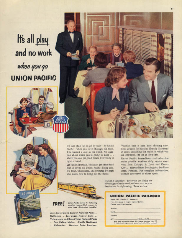 It's all play & no work Union Pacific RR dining car ad 1953 Col