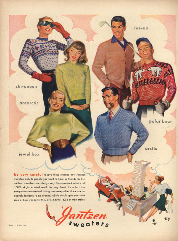 Be very careful Jantzen Sweaters ad 1946 Pete Hawley art L