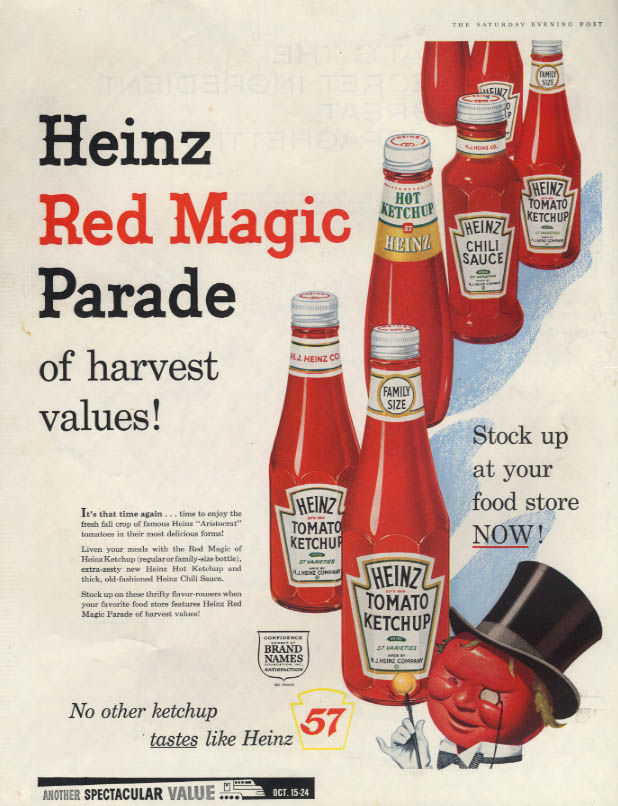Image for Heinz Red Magic Parade Ketchup & Chili Sauce ad 1959 SEP Mr Tomato