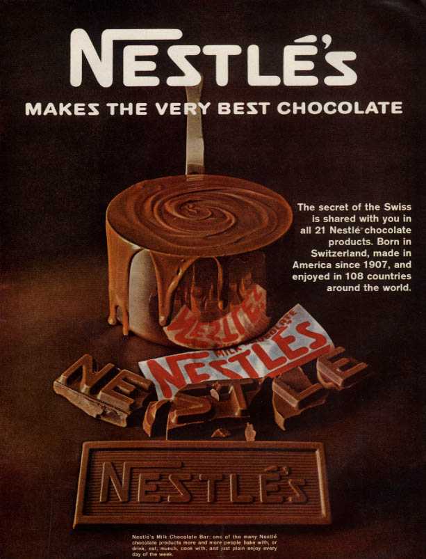 Image for Nestle's Makes the Very Best Chocolate candy bar ad 1967 L