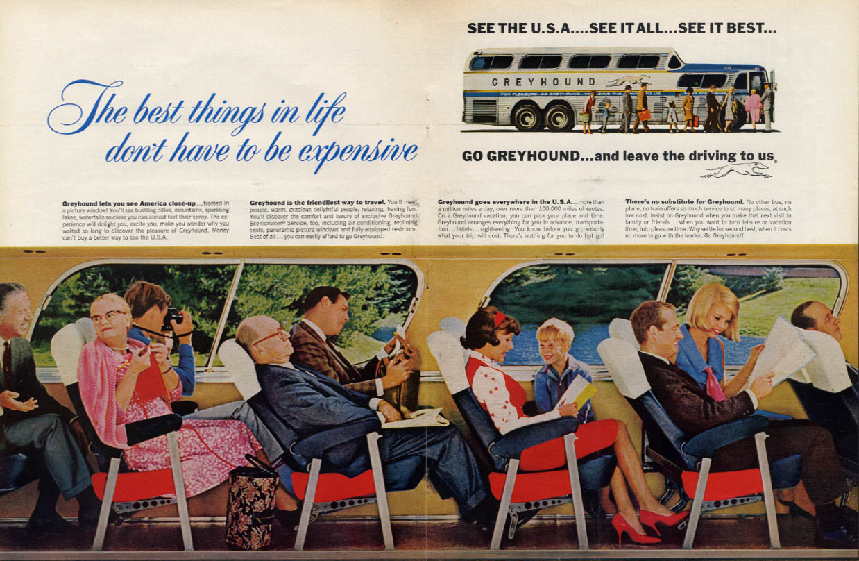 Best things don't have to be expensive Greyhound Bus ad 1965 L
