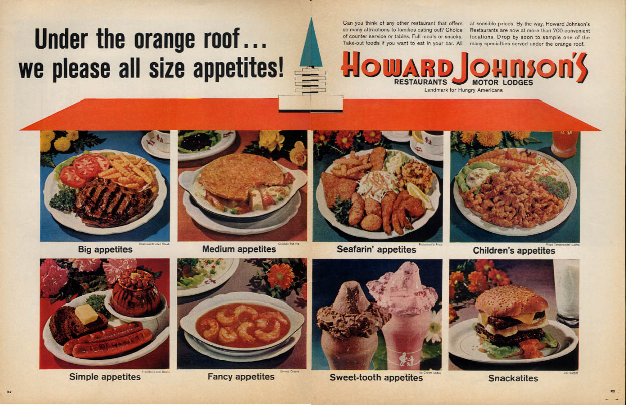 Image for Under the orange roof we please all appetites Howard Johnson's ad 1965 L