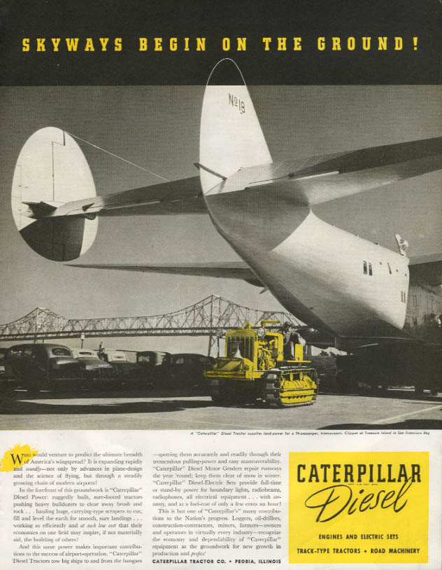Image for Skyways begin on the ground Caterpillar Diesel ad 1940 Pan Am Clipper P
