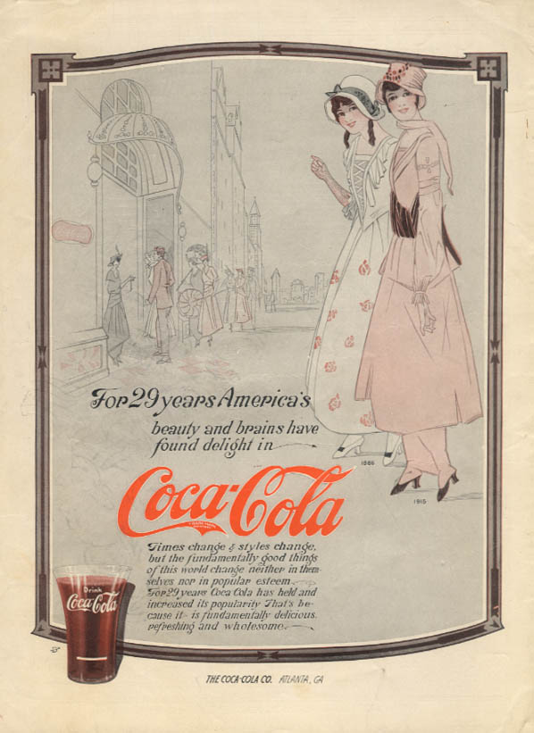 For 29 years America's beauty & brains have found Coca-Cola ad 1915 MP