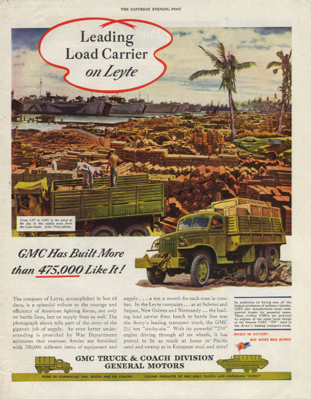 Leading Load Carrier on Leyte - US Army GMC Six-by-Six Truck ad 1945 SEP