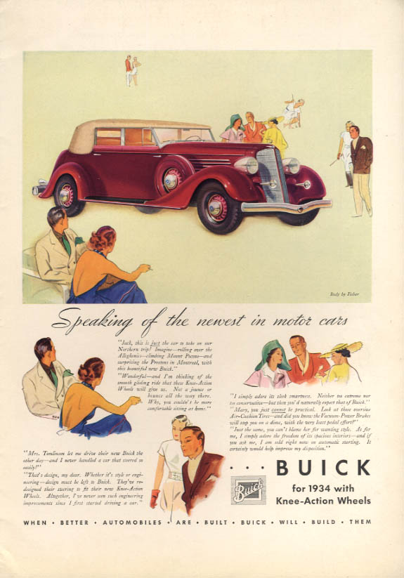 Speaking of the newest in motor cars - Buick Convertible Sedan ad 1934 T&C