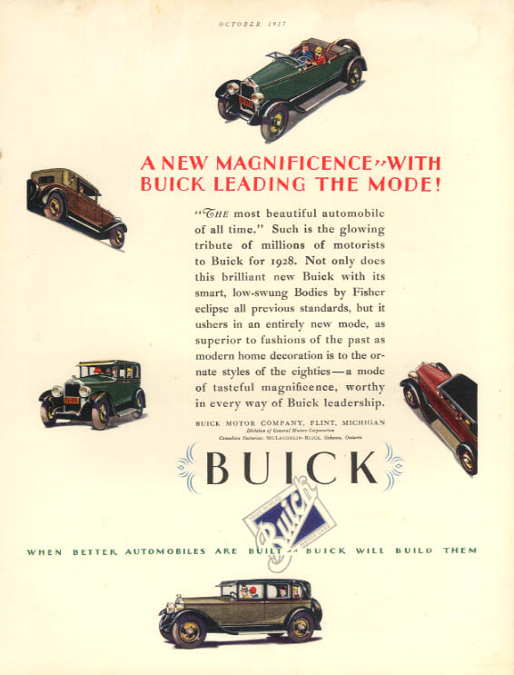 A new Magnificence with Buick Leading the Mode! Ad 1928 HB