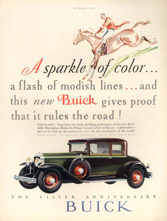 A sparkle of color - a flash of modish lines Buick Coupe ad 1929 HB