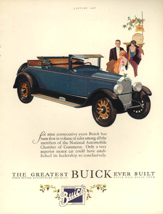 9 consecutive years 1st in volume sales Buick Rumble Seat Roadster ad 1927 HB