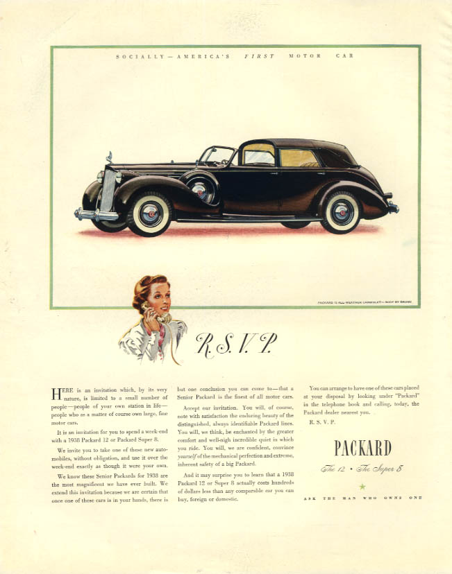 R. S. V. P Here is an invitation - Packard 12 Town Car ad 1938 F