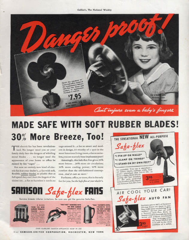 Danger proof! Samson Safe-flex Rubber Blade Electric Fans ad 1937 Col