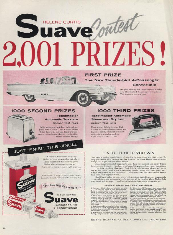 Image for Helene Curtis Suave Shampoo Ford Thunderbird Contest ad 1958 L