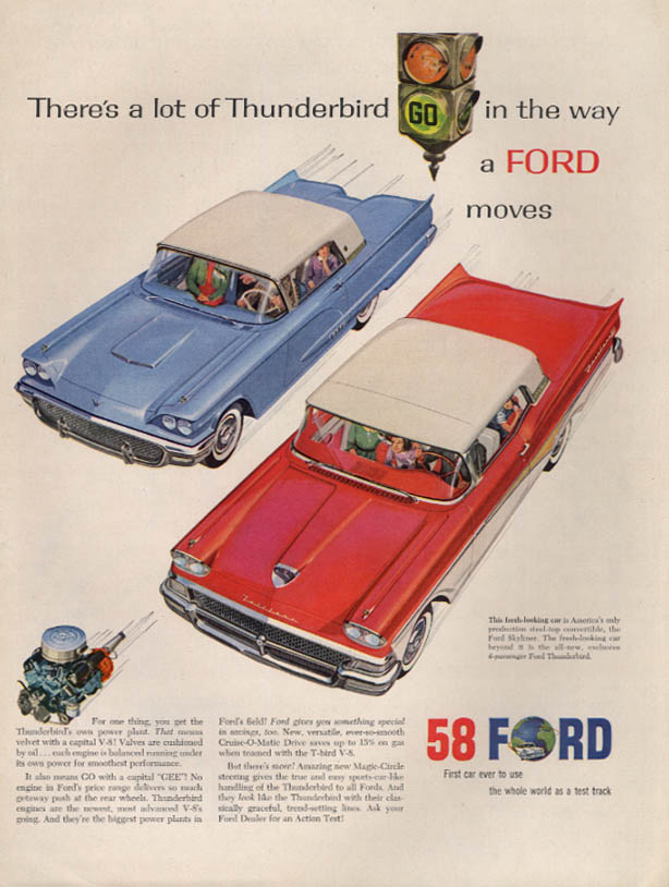 Image for A lot of Thunderbird in the way the Ford Skyliner moves ad 1958 L
