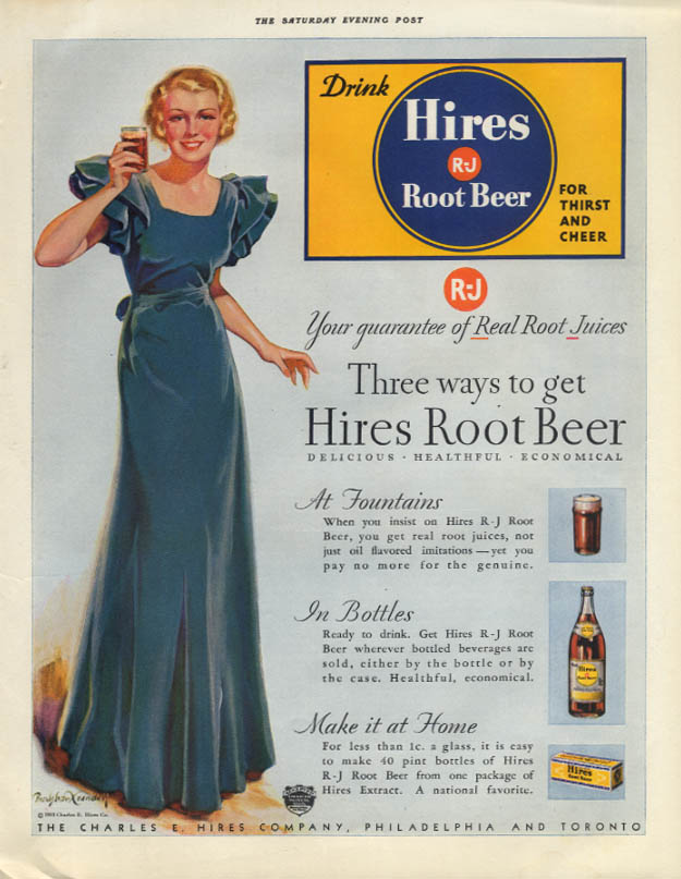 Three ways to get Hires Root Beer ad 1933 Bradshaw Crandell pretty girl SEP