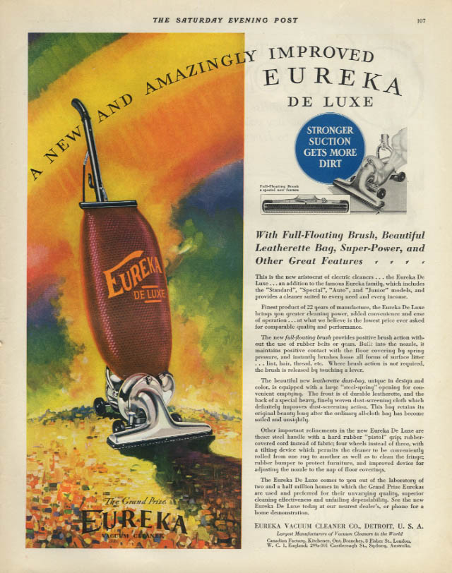 A new & amazingly improved Eureka De Luxe Vacuum Cleaner ad 1931 SEP